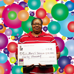 mary s. johnson of ethel claims $30,000 bingo! prize