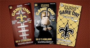 Louisiana Lottery Saints Game On! Scratch-Off Offers $100,000 Top Prizes Plus Exciting New Second-Chance Game-Day Experience Prizes