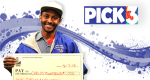 Carlos Townsend won 1,000 playing Pick 3
