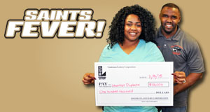 Baton Rouge Woman Wins $100,000 Playing Saints Fever!