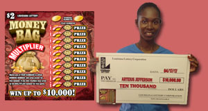Arteius Jefferson won 10,000 playing Money Bag Multiplier
