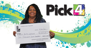 Betty Watson won 2,700 playing Pick 4