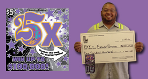 Earnest Brown won $100,000 playing 25x