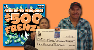 Maria Echavarria won 100,000 playing $500 Frenzy
