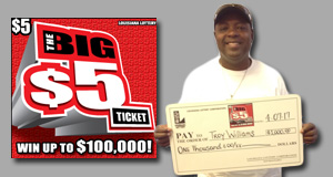 Troy Williams won 1,000 playing The Big $5 Ticket